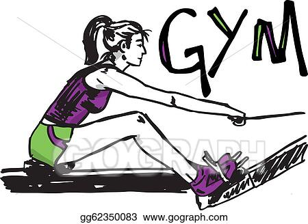 Clip Art Vector - Sketch of woman exercising on machines at gym ...