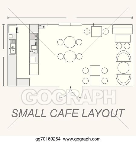 Vector illustration small cafe layout stock clip art for Coffee shop floor plan with dimensions