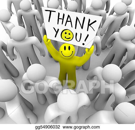 Smiley Face Person Holding Thank You Sign