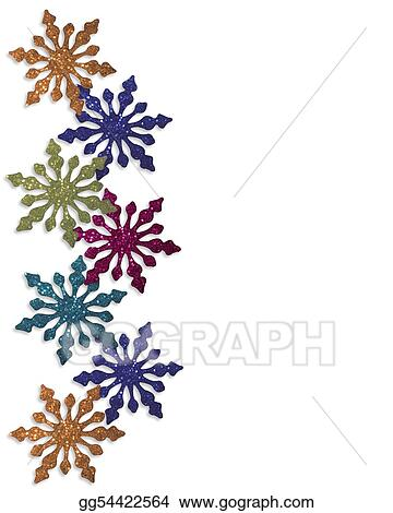 Stock Illustrations - Snowflakes winter border colorful. Stock ...