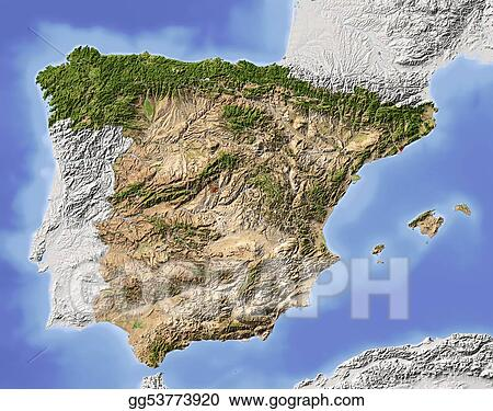 Spain, shaded relief map