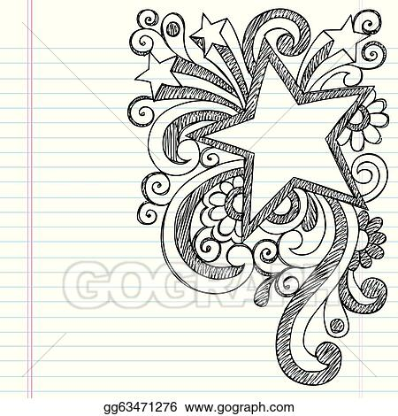 eps vector star frame border back to school sketchy notebook doodles vector illustration design on lined sketchbook paper background