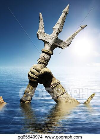 Stock Illustration - Statue of neptune or poseidon's arm ...