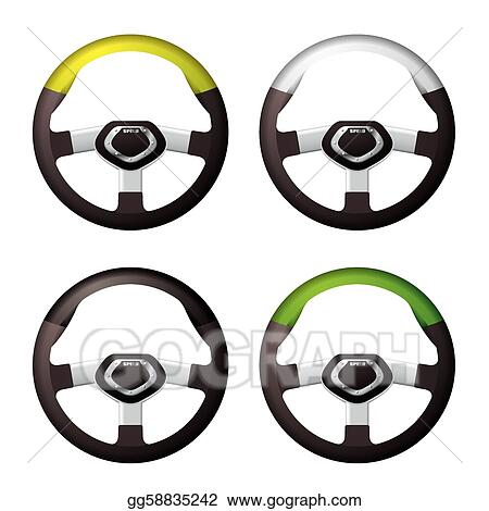 Vector Art - Steering wheel collection. Clipart Drawing ...