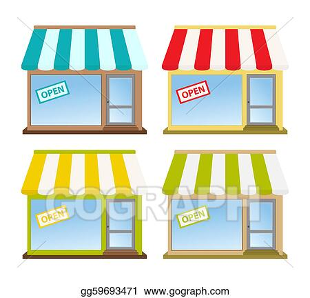 Clipart four color store fronts stock illustration gg59693471