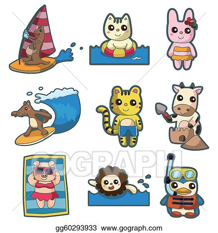 Stock illustration summer animal sport icon set clipart