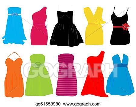 Stock Illustrations - Summer dresses for women . Stock Clipart ...