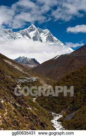 Summits Lhotse and Lhotse shar. Village and stream