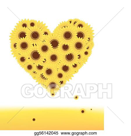 Vector Illustration - Sunflowers heart shape for your ...