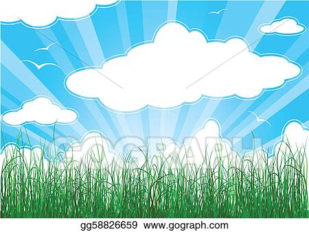 Sunny summer background with grass, clouds and sunbeams