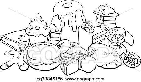 Vector illustration sweets for coloring book eps for Sweet treats coloring pages