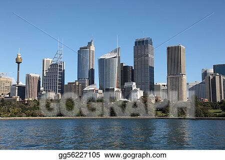 Sydney City Skyline view across farm cove. Sydney is Australia\'s largest city and a popular tourist destination.
