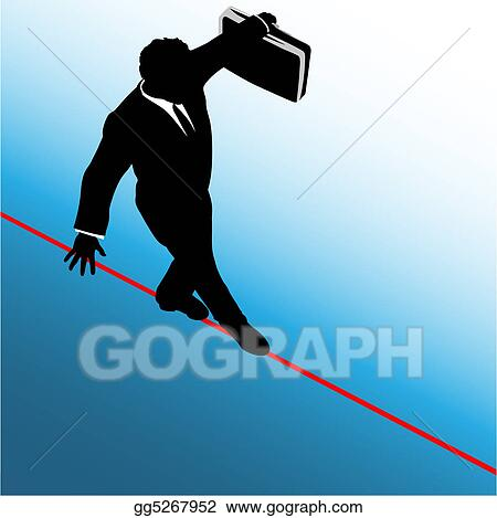 Symbol business man walks on danger risk tightrope