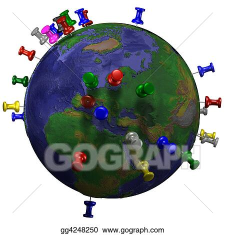 Clipart tacks in space earth map stock illustration for 3d outer space map