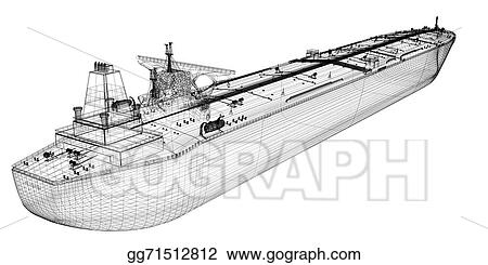 Drawing - Tanker crude oil carrier ship. Clipart Drawing ...