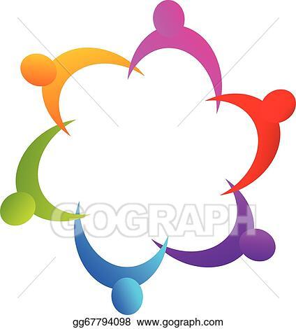 Vector Art - Teamwork holding hands logo. Clipart Drawing ...