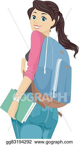 Vector Art - Teen girl student backpack looking back ...