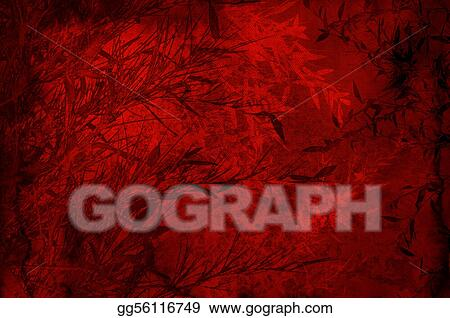 Textured red backdrop with bamboos foliage - scrapbooking