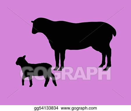 The black silhouettes of a sheep and a lamb on lilac