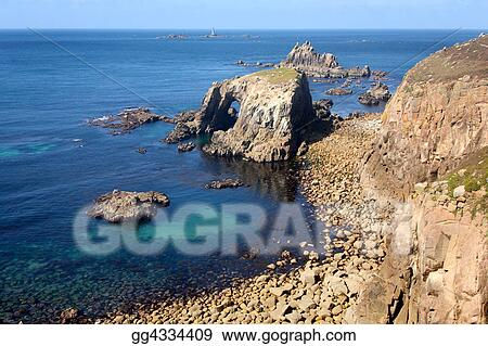 The cliffs at Lands End and Longships lighthouse.