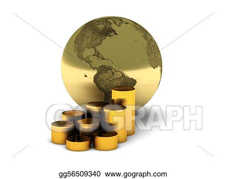 The Earth and gold coins