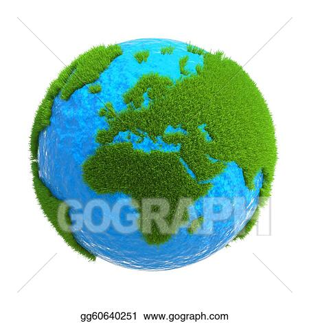 the globe with the continents located on it from the green grass