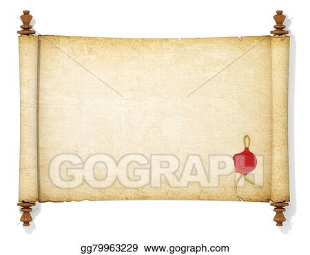 Stock illustration the old and yellowed scroll paper for Drawing on wax paper