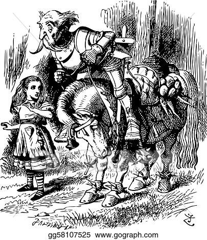 The White Knight Falls off His Horse - Through the Looking Glass and what Alice Found There original book engraving