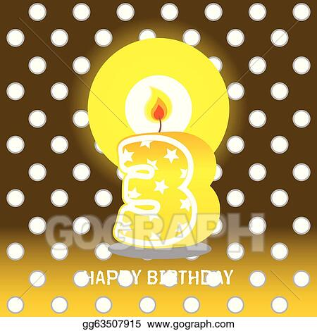 Stock Illustration Third Birthday With Candle Clipart