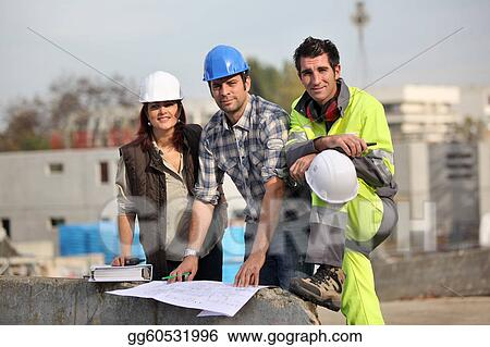 Three construction workers at site