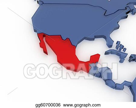 Three-dimensional map of Mexico isolated. 3d