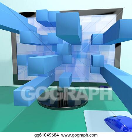 Stock illustration three dimensional squares on computer for 3 dimensional drawing software