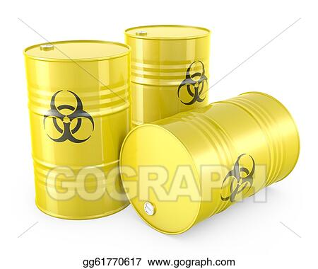 Clipart three yellow barrels with biohazard symbol isolated on