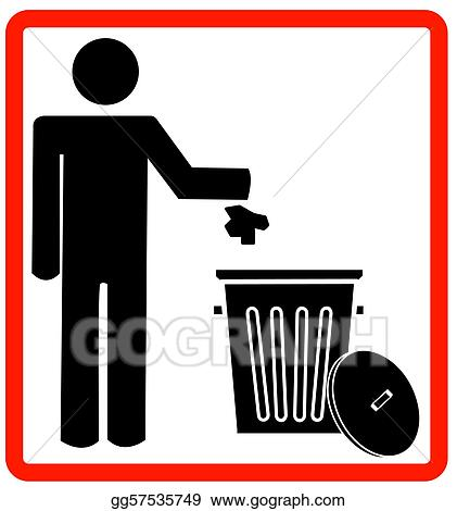 Stock Illustration - Throwing garbage into a trash can . Clipart ...