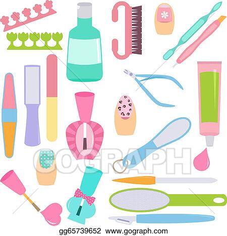 Clip Art Vector - Tools for manicure, pedicure . Stock EPS ...