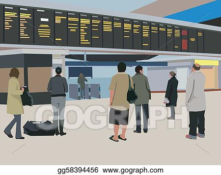 Travelers looking at flight schedule board