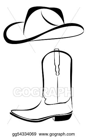 Cowboy Hat and Boots Drawing