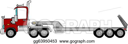 Drawing - Truck & lowboy trailer. Clipart Drawing gg63950453 - GoGraph