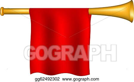 Vector Illustration - Trumpet with red flag. EPS Clipart ...