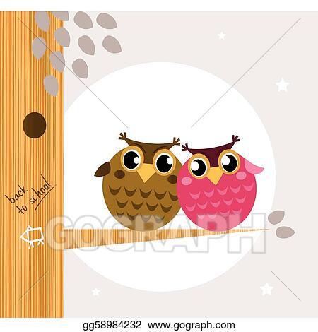 Two Owls On Branch Clip Art