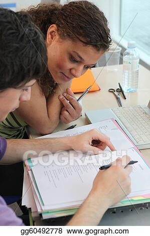 Two students preparing for exam