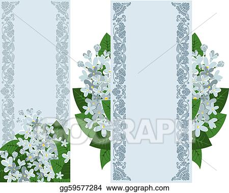 Two vertical banners with lilac
