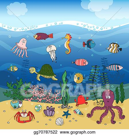 Vector Art - Underwater ocean life under the waves. Clipart Drawing gg70787522 - GoGraph