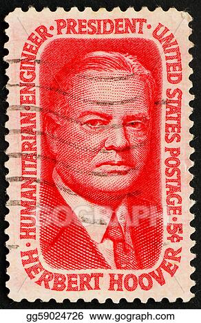 United States of America - circa 1965: a stamp printed in the United States of America shows American President Herbert Clark Hoover, circa 1965