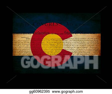 USA American  Colorado State Map outline with grunge effect flag