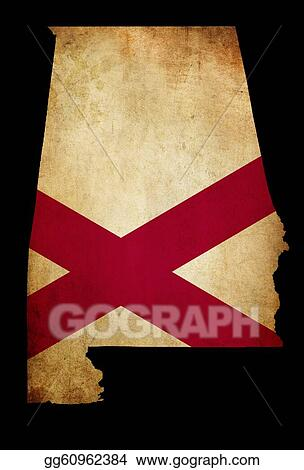 USA American State Alabama Map outline with grunge effect flag