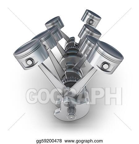 V8 Engine Piston Drawing, V8, Free Engine Image For User Manual Download
