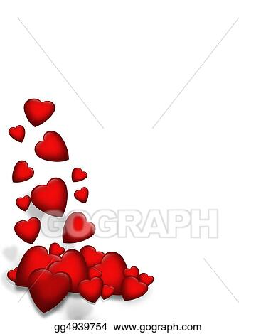 Stock Illustration - Valentine falling hearts border. Clip Art ...