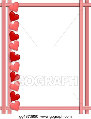 Clip Art - Valentines day hearts border. Stock Illustration ...