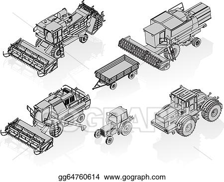 Drawing vector agricultural vehicles isometric set available eps 8